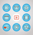 Different lineart media icons set design elements vector image
