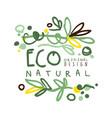 eco natural label original design logo graphic vector image