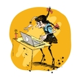 Girl and laptop vector image