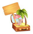 Holiday Suitcase with Wooden Board vector image