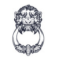 lion head door knocker hand drawn vector image