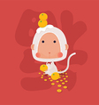 Lucky White Monkey Chinese New Year 2016 vector image