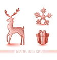 Merry Christmas red sketch style elements set vector image