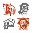 Pirate symbols - emblems set vector image