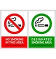 No smoking and Smoking area labels - Set 9 vector image