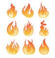 cartoon flame set of fire vector image