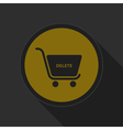 dark gray and yellow icon - shopping cart delete vector image