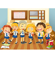 Children in uniform in the classroom vector image vector image