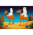 arabs on camel vector image