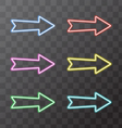 Arrows neon light on a transparent background vector image