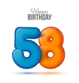 Birthday greeting card template with glossy fifty vector image