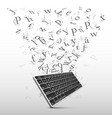 key board with flying letters sign vector image