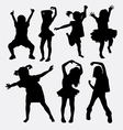 Kid little girl dancing silhouettes vector image