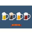 Set of glasses of light and dark beer vector image