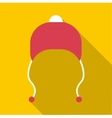 Red hat with pompom icon flat style vector image