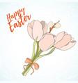 happy easter hand drawn retro card vector image