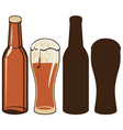 Beer bottle and glas vector image