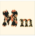 Fiery font Letter M on white vector image