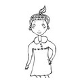 cute cartoon hipster girl with pony tail smile vector image