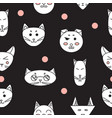funny cats seamless texture vector image
