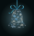 Hanging christmas bell made of snowflakes vector image