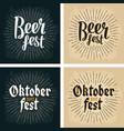 oktoberfest 2017 and beer fest lettering with rays vector image