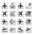 Plane flight airport icons set vector image