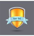 Yellow glossy metal shield on gray background vector image