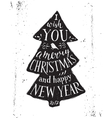 Christmas card with hand drawn lettering vector image