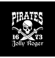 Pirates poster of Jolly Roger symbol emblem vector image vector image