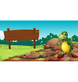 A turtle at the rocky area near an empty signboard vector image vector image