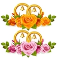 wedding rings and roses vector image