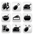 Thanksgiving Day food buttons set - turkey pumpki vector image
