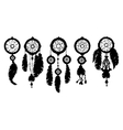 5 Dream catchers silhouette isolated on white vector image
