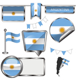 Glossy icons with Argentine flag vector image vector image