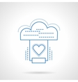 Cloud services blue flat line icon vector image