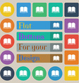 Book icon sign Set of twenty colored flat round vector image