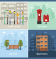 city infrastructure objects and places vector image