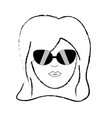Figure cute woman face with hairstyle and vector image