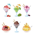 Glasses and Cups with Ice Cream Fruit Berry vector image