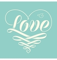 Hand lettering Love in heart with old school vector image