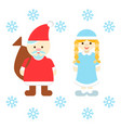 santa claus and snow maiden vector image