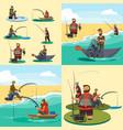set of cartoon fisherman catches fish sitting boat vector image