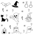 Halloween candy ghost cat in doodle vector image
