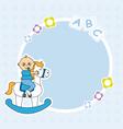 Boy riding a wooden horse vector image
