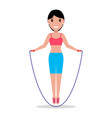 cartoon girl jumping on a skipping rope vector image