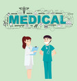 doctors with medical icons for healthcare vector image