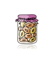 Jar with peach jam sketch for your design vector image