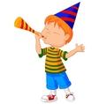 Little boy cartoon with trumpet vector image