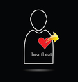 man icon with heartbeat vector image